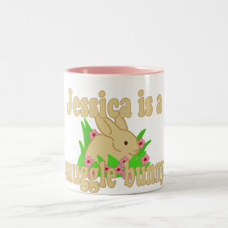 Jessica is a Snuggle Bunny Two-Tone Coffee Mug
