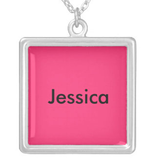 Jessica Large Silver Plated Square Necklace
