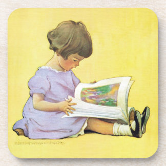 Jessie Willcox Smith - Little Girl Reading Book Drink Coaster