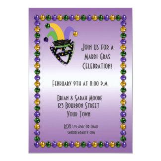 "Jester, Beads, Mardi Gras Party Invitation 5"" X 7"" Invitation Card"