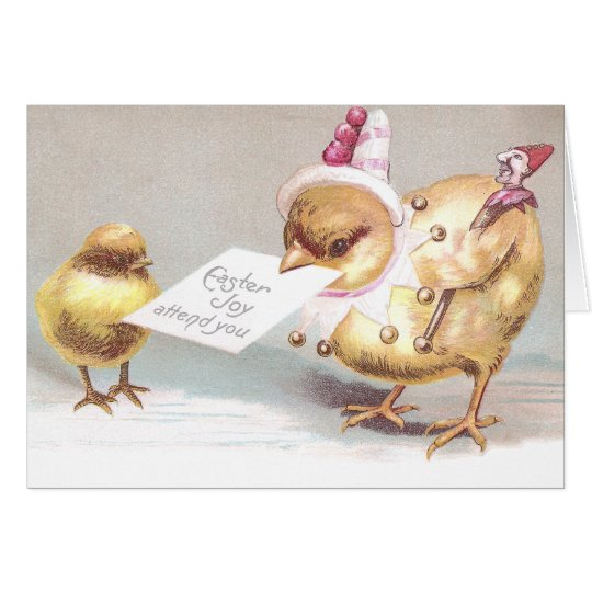 Jester Chick with Marotte Vintage Easter Card