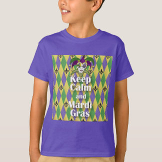 Jester Mask Keep Calm and Mardi Gras T-Shirt