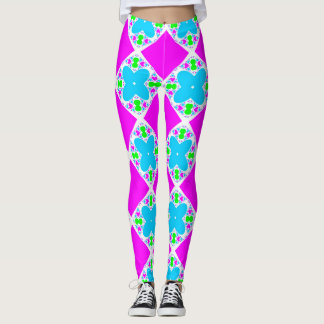 Jester Neon Bright Pink and Blue Leggings