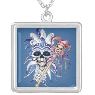 Jester Skull Square Pendant Necklace