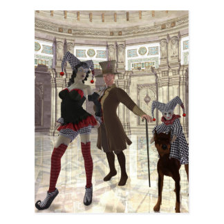 jesters in costume postcard