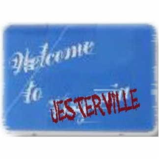 Jesterville sign photo sculpture key ring