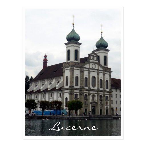 jesuit church lucerne post card
