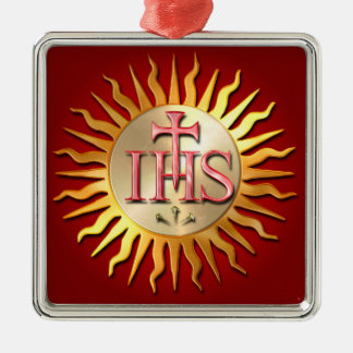 Jesuit Seal Silver-Colored Square Decoration