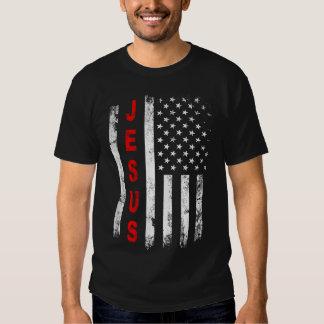 Jesus American Flag Vintage Stars Stripe Christian T Shirt