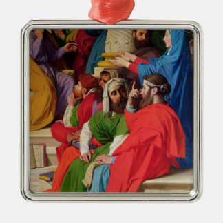 Jesus Among the Doctors Silver-Colored Square Decoration