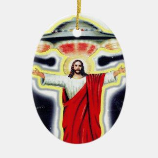 Jesus and a UFO Christmas Ornament