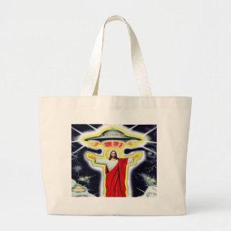 Jesus and a UFO Large Tote Bag