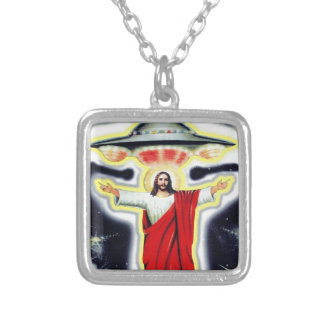 Jesus and a UFO Silver Plated Necklace