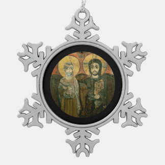 Jesus and Friend Coptic Christian Icon Pewter Snowflake Decoration