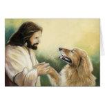 Jesus and Golden Retriever Dog Art Greeting Card