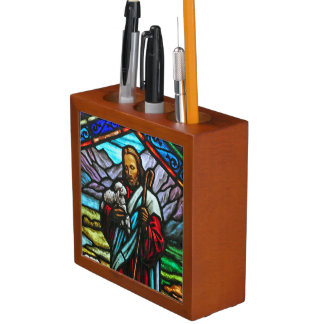 Jesus and lamb stained glass desktop organizer