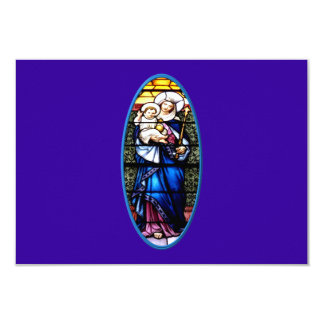 Jesus and Mary stained glass window 9 Cm X 13 Cm Invitation Card