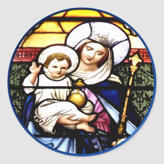 Jesus and Mary stained glass window Classic Round