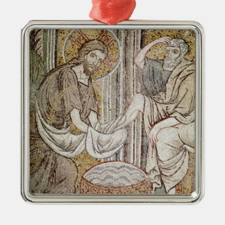 Jesus and St. Peter Silver-Colored Square Decoration