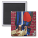 Jesus and the Leather Flag Square Magnet