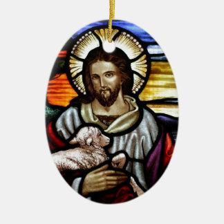 Jesus as the Good Shepherd Christmas Ornament