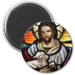 Jesus as The Good Shepherd Portrait 6 Cm Round Magnet