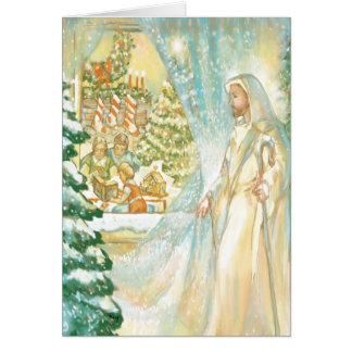 Jesus at Christmas Looking Through Veil of Snow Card