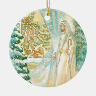 Jesus at Christmas Looking Through Veil of Snow Christmas Ornament