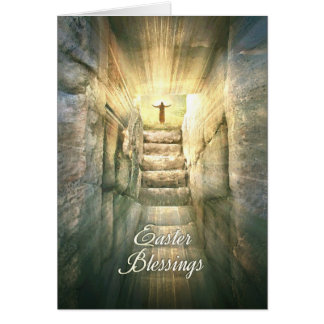 Jesus at the Empty Tomb in Light Rays for Easter Card