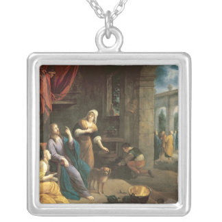 Jesus at the Home of Martha and Mary Silver Plated Necklace