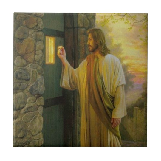 Jesus At Your Door Vintage Tile