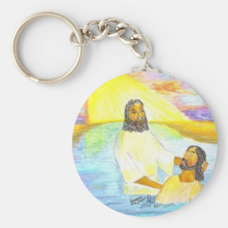 Jesus' Baptism Basic Round Button Key Ring