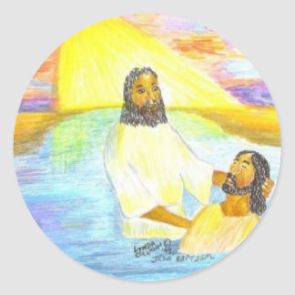 Jesus' Baptism Classic Round Sticker