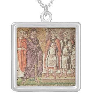 Jesus before Caiphus Silver Plated Necklace