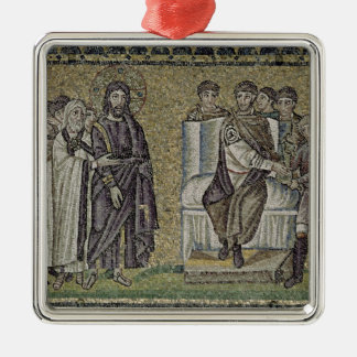 Jesus before Pontius Pilate Silver-Colored Square Decoration