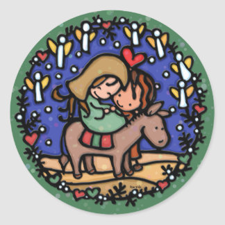Jesus born Christmas day Angels rejoiced GREEN Classic Round Sticker