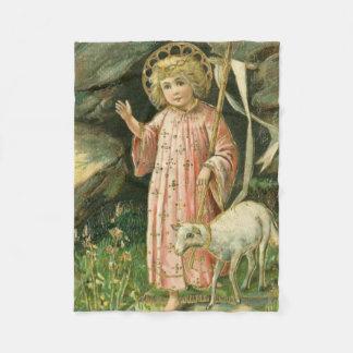 Jesus Boy Child Cross Lamb Easter Flowers Fleece Blanket