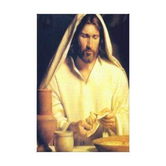 Jesus Breaking Bread Wrapped Canvas