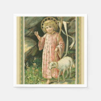 Jesus Child Cross Lamb Easter  King Disposable Napkin