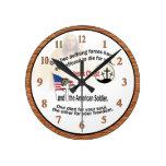 Jesus Christ & American Soldier Medium Round Clock