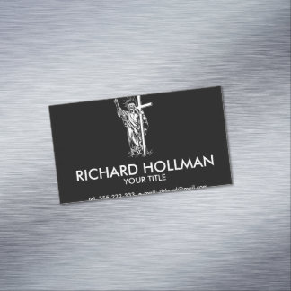 Jesus Christ and a cross Magnetic Business Cards