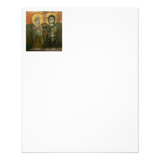 Jesus Christ and Abbot Coptic Icon 11.5 Cm X 14 Cm Flyer