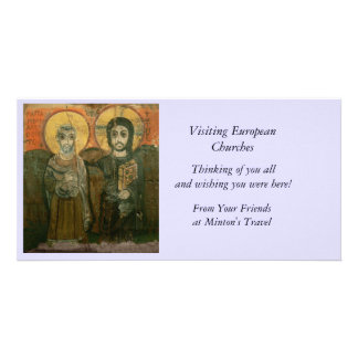 Jesus Christ and Abbot Coptic Icon Custom Photo Card