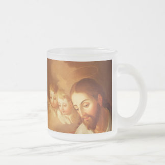 Jesus Christ and Angels Gazing Down From Heaven Frosted Glass Mug
