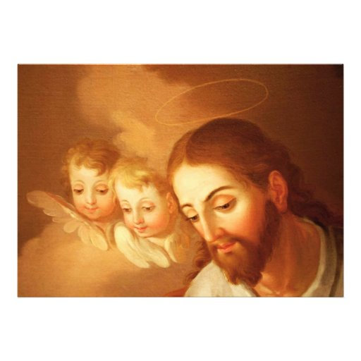 Jesus Christ and Angels Gazing Down From Heaven Photo