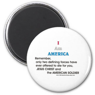 Jesus Christ and the American Soldier 6 Cm Round Magnet