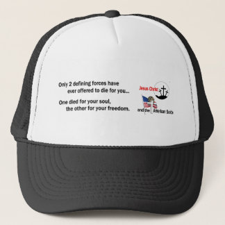 Jesus Christ and the American Soldier Trucker Hat