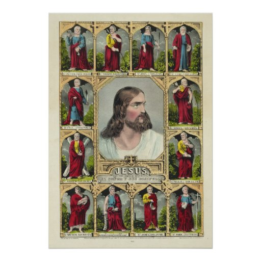 Jesus Christ and the Twelve Apostles Christianity Poster