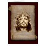 Jesus Christ Crown of Thorns on Scroll Greeting Cards