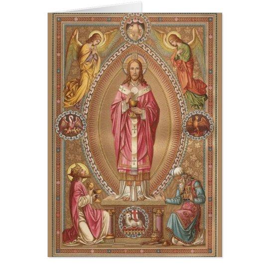 Jesus Christ Eucharist Catholic Mass Offering Card